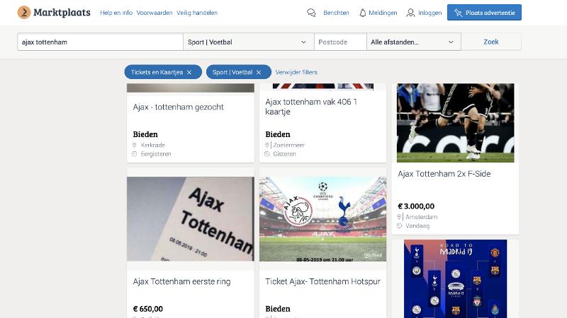 Politie waarschuwt voor valse kaarten Ajax - Tottenham Hotspur (Screenshot: Politie)
