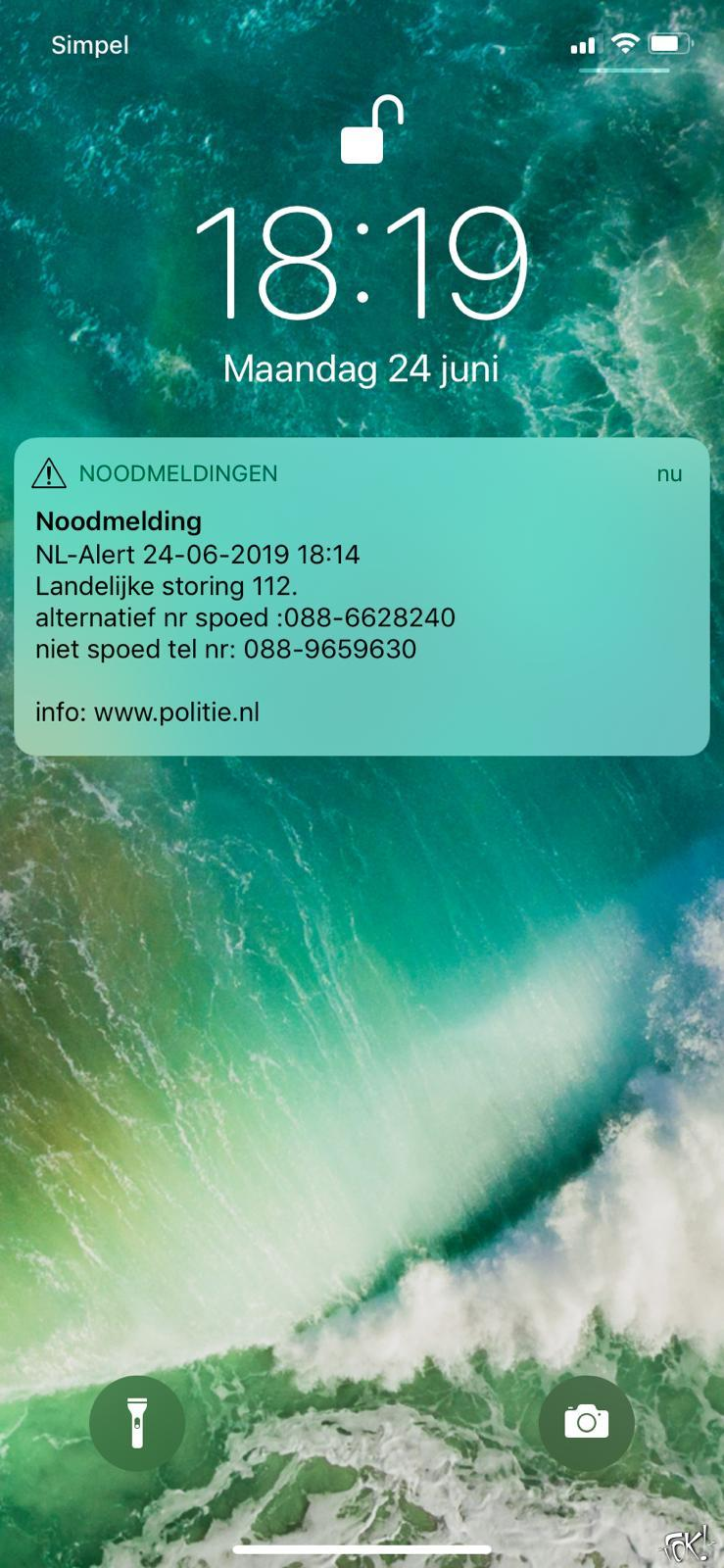 NL-Alert 112-storing (Foto: FOK!)