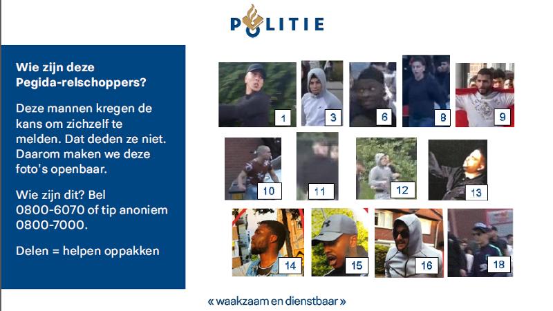 Politie zet Pegida-relschoppers online (Afbeelding: Politie)