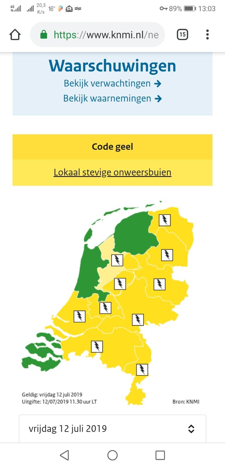 Code geel voor onweersbuien