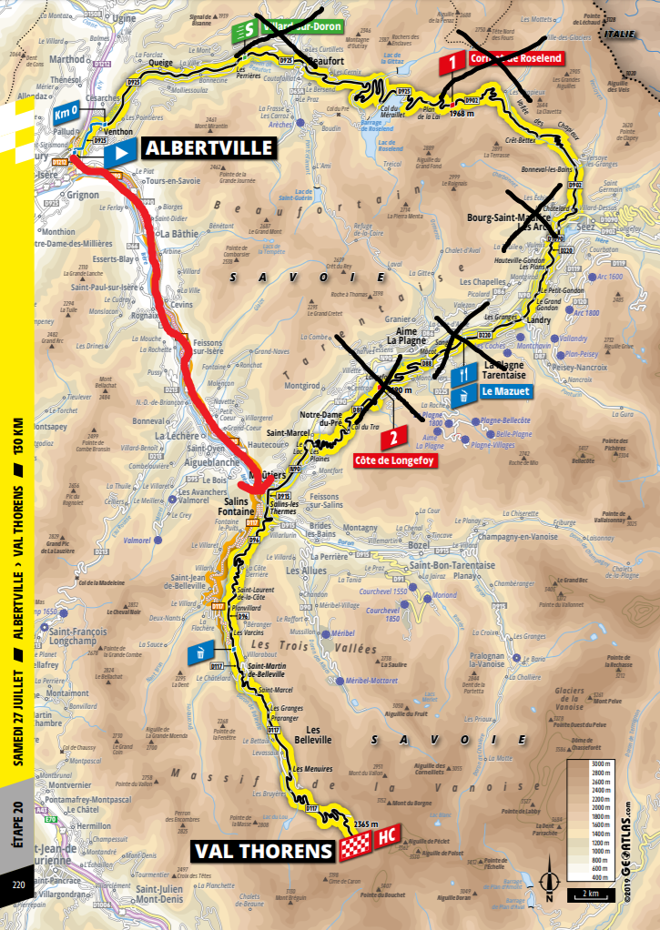 De aangepaste route van vandaag (Bron: Letour.fr)