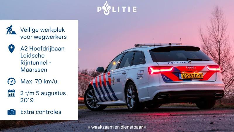 Extra controles bij wegwerkzaamheden A2 (Afbeelding: politie)