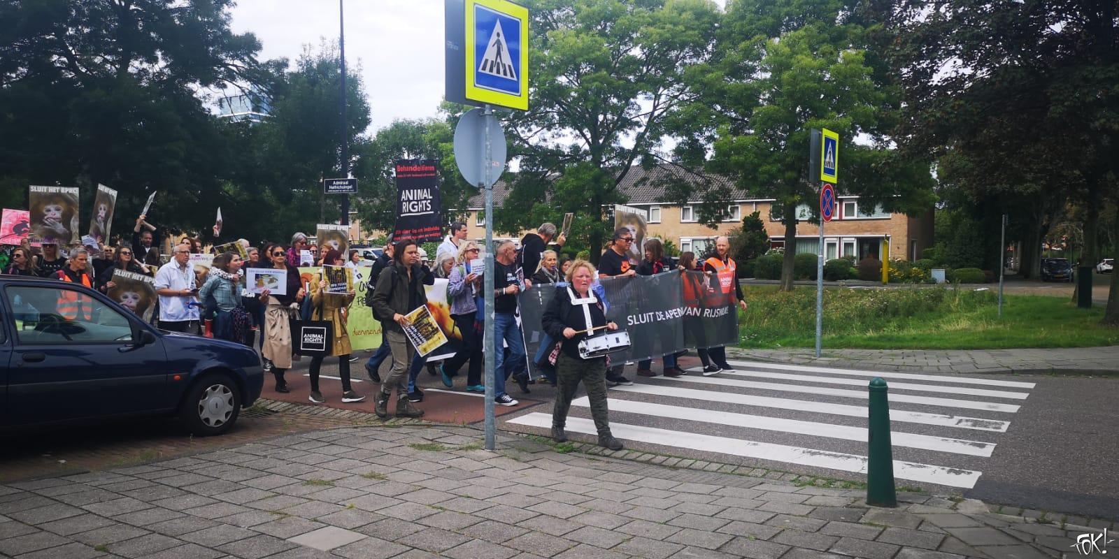 Animal Rights protesteert tegen Parkinsonproeven op penseelapen (Foto:FOK!)