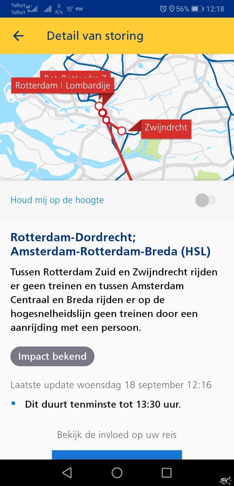 Treinverkeer rond Rotterdam gestremd door aanrijding met een persoon