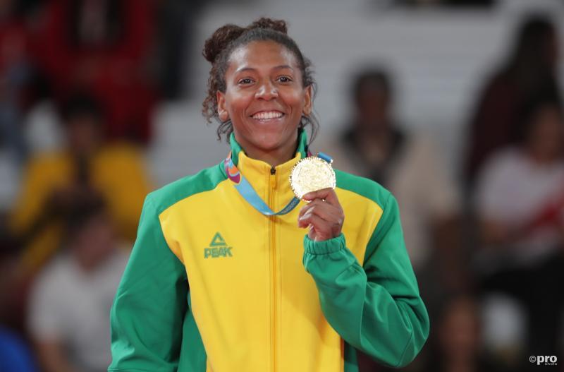 Rafaela Silva de dag dat ze haar positieve plasje inleverde bij de Pan-Amerikaanse Spelen na het behalen van de gouden medaille (Pro Shots / Action Images)