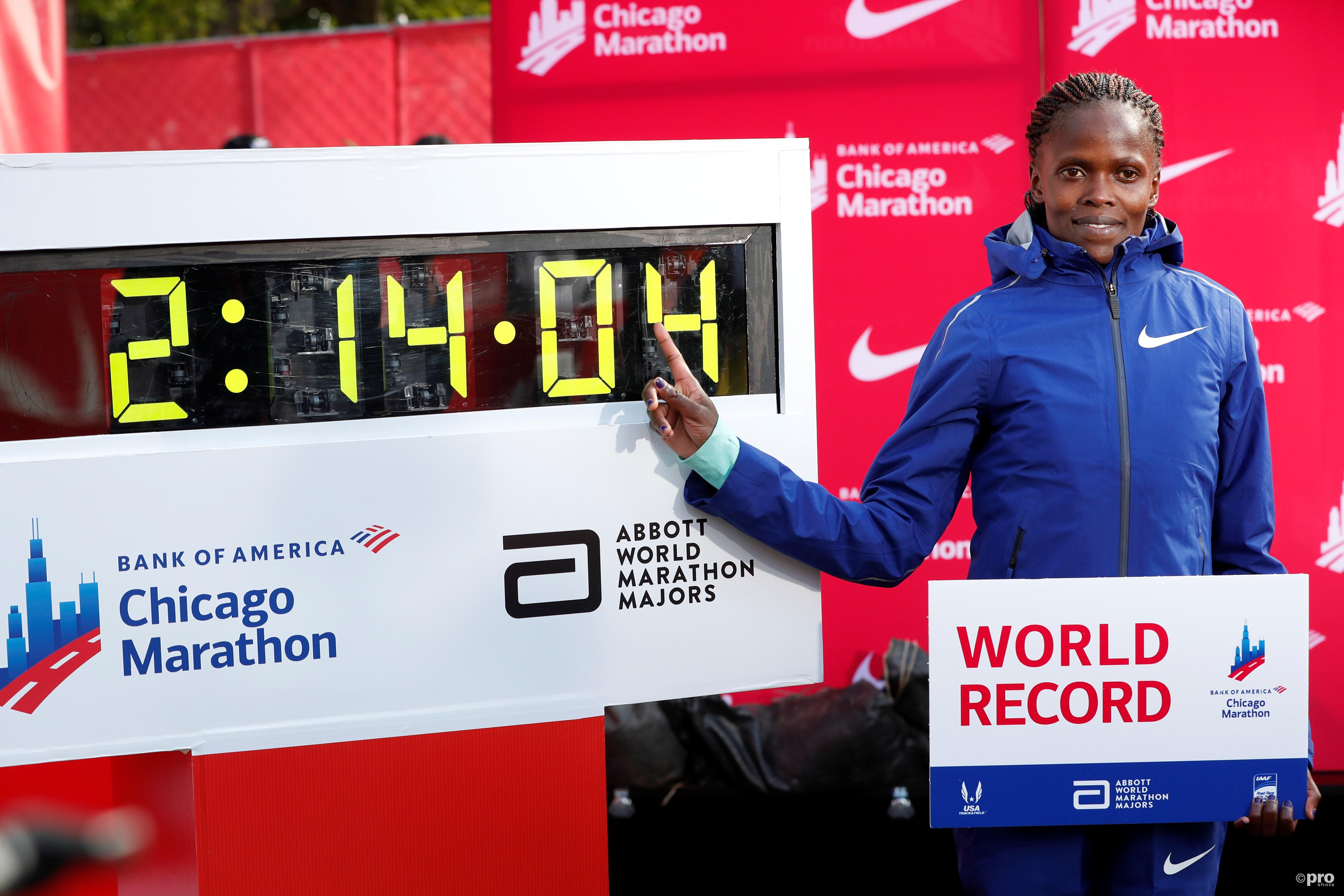 Kosgei loopt nieuw wereldrecord. (PRO SHOTS/Action Images)