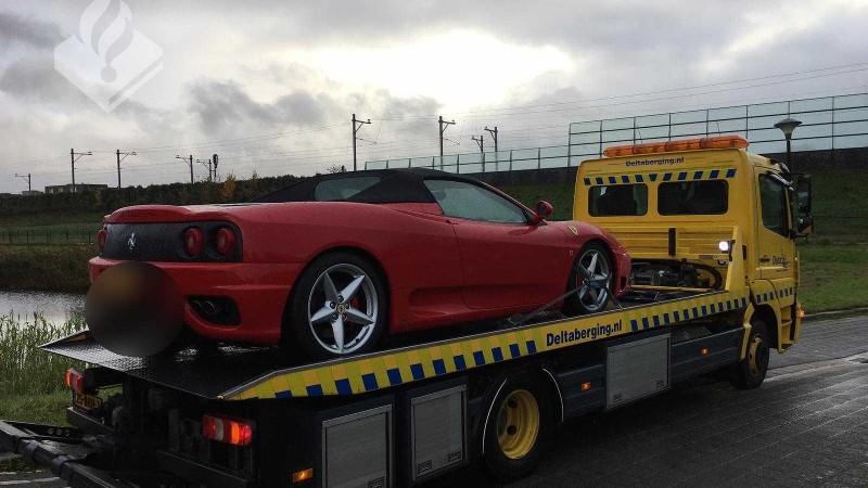 De in beslag genomen Ferrari (Afbeelding: Politie)