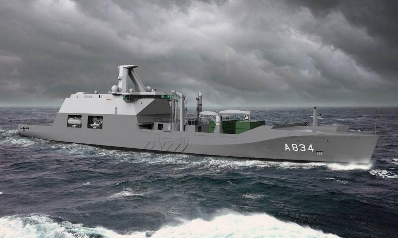 Artist impression van het Combat Support Ship (Afbeelding: Ministerie van Defensie)