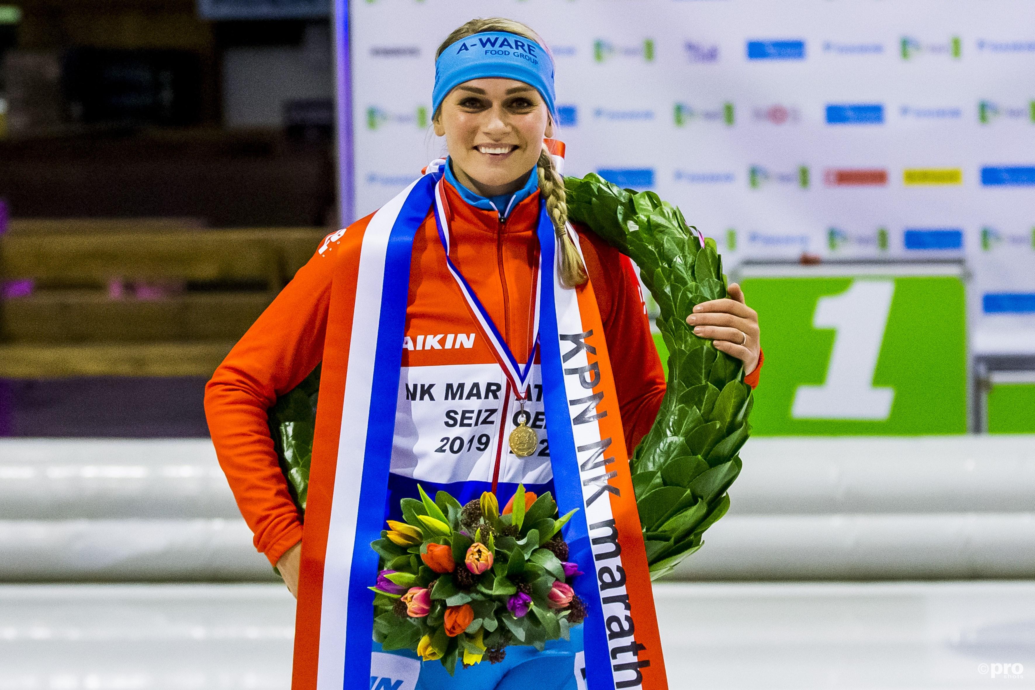 Vijfde Nederlandse titel voor Irene Schouten. (PRO SHOTS/Erik Pasman)