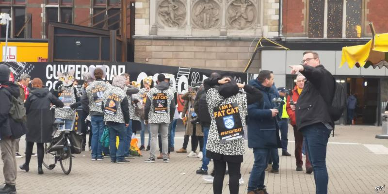 FNV voert actie voor hoger minimumloon op 'Fat Cat Day' (Foto: FOK! / DJMO )