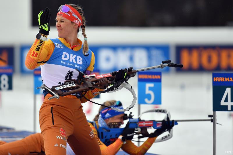 We zien de Duitse Denise Herrmann tijdens het WK biatlon, wat is hier gaande? (Pro Shots / Zuma Press)
