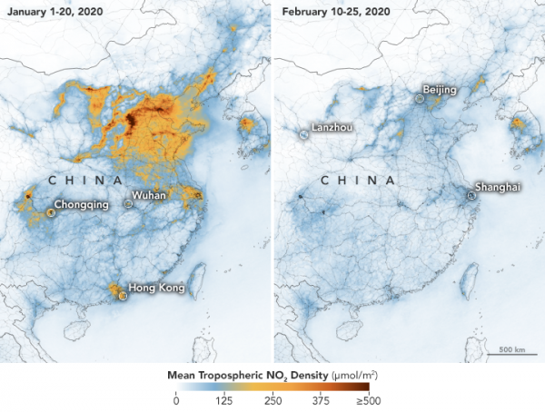 Daling stikstofdioxideuitstoot in China  (Bron: NASA, Earth Observatory)