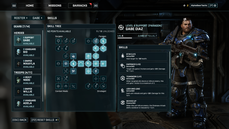 Gears Tactics Skill Tree