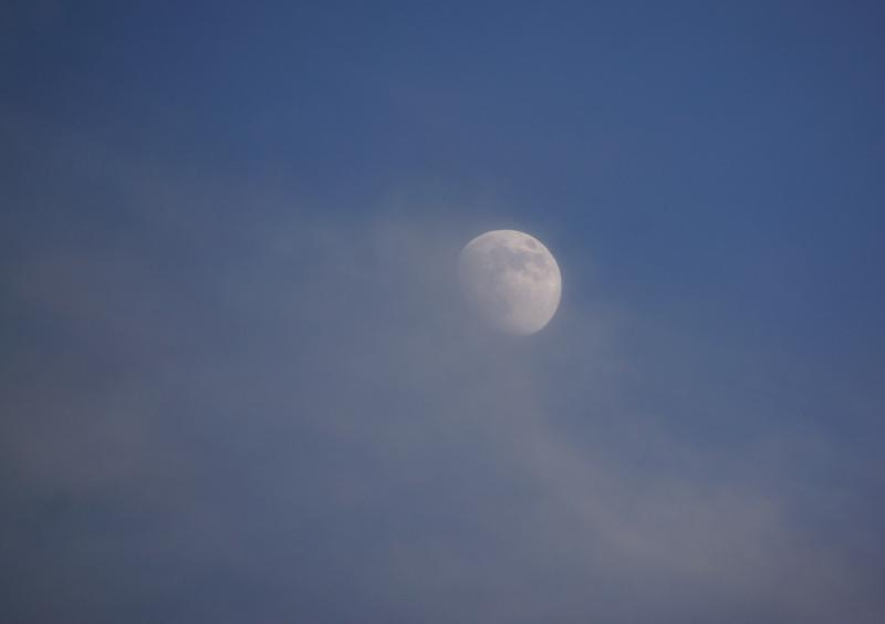 Dinsdagmiddag overdag met blauwe lucht en hoge bewolking, de maan in zicht.  (Foto: Scherpschutter)