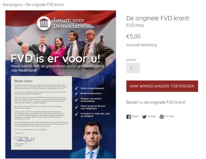 Gratis FVD-krant ook te koop voor 5 euro