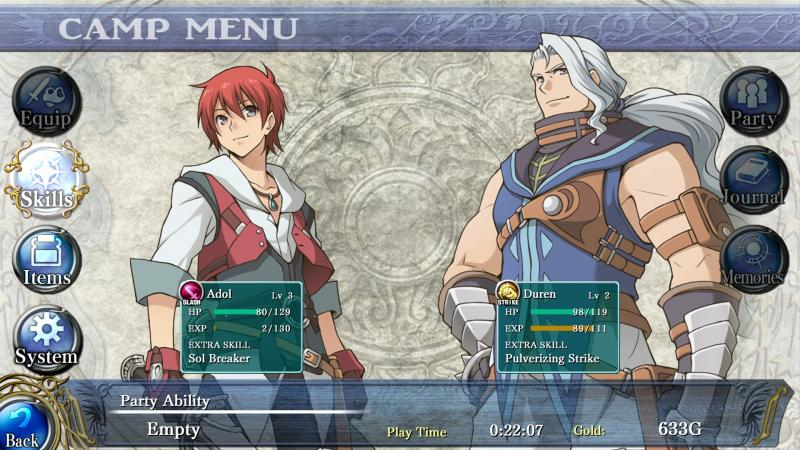 Ys: Memories of Celceta - Menu (Foto: Marvelous)
