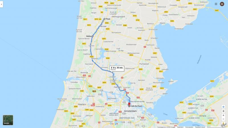De voorlopige wandelroute van DJMO van Alkmaar naar Amsterdam