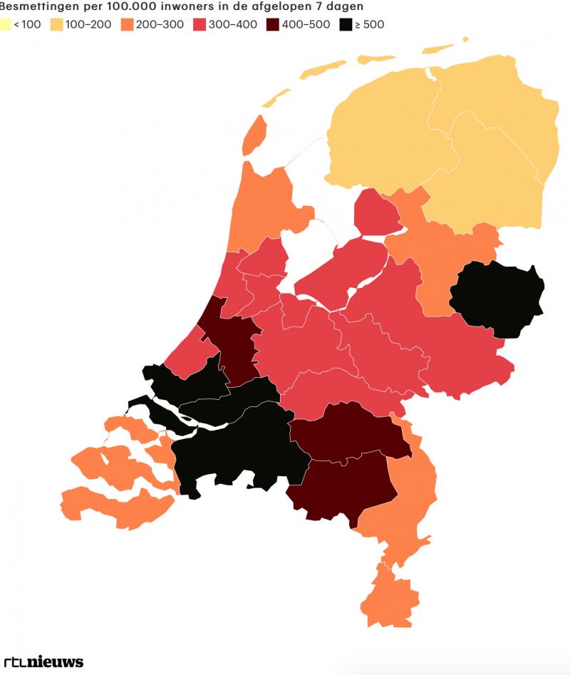 Besmettingsgraad Veiligheidsregio's (RTL Nieuws)