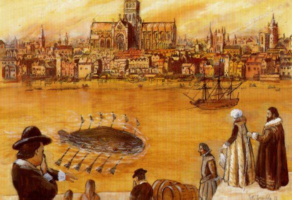 De experimentele duikboot van Drebbel (WikiCommons)