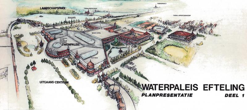 Het ontwerp van 'het Waterpaleis' van de Efteling (Bron: Eftepedia)