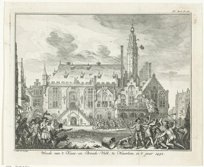 De opstand van het Kaas- en Broodvolk in Haarlem in 1492 (WikiCommons/Simon Fokke/Nationaal Gevangenismuseum)