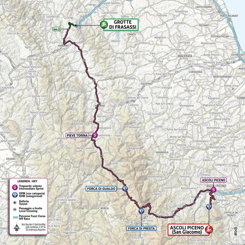 De route van vandaag (Bron: Giro d'Italia)