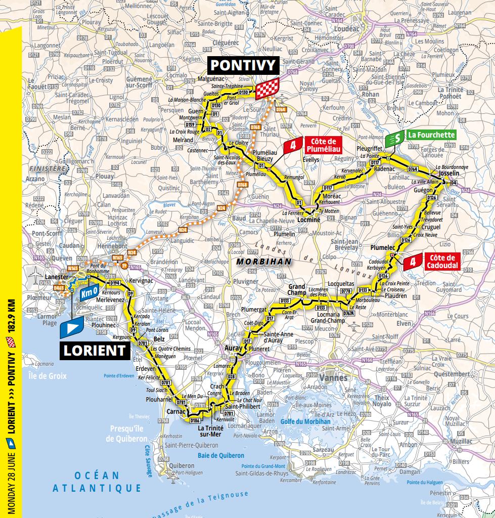 De route van vandaag (Bron: Tour de France)