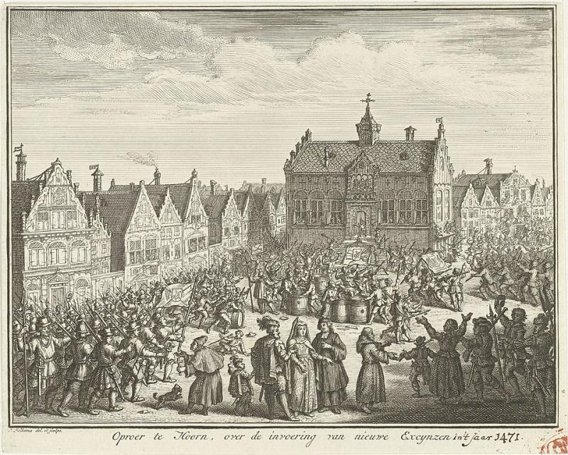 Oproer te Hoorn, een prent gemaakt door Jacob Folkema (WikiCommons/Rijksmuseum)