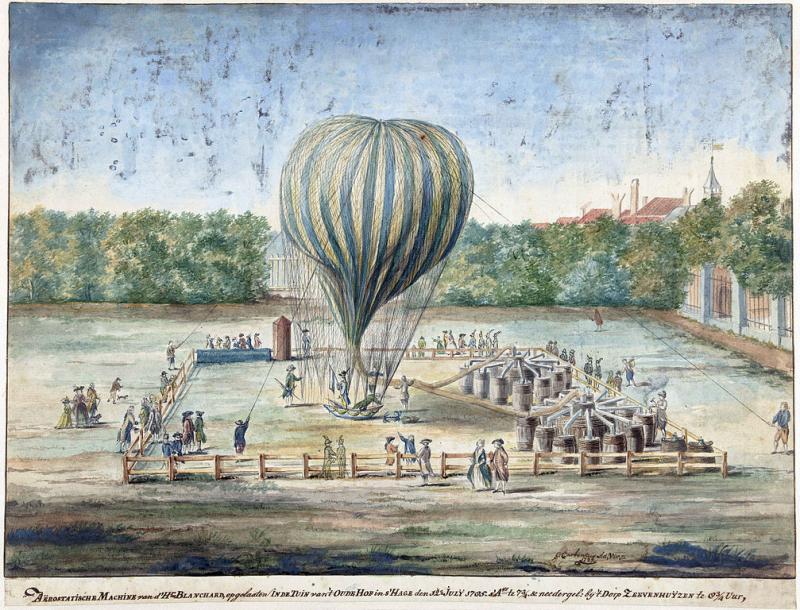 Een prent van de eerste bemande ballonvaart van ons land (WikiCommons/G. Carbentus/www.rijksmuseum.nl)
