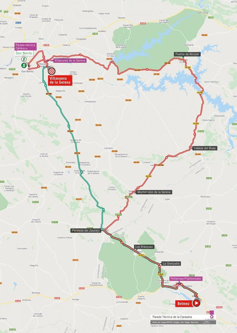 De route van vandaag (Bron: Vuelta a España)