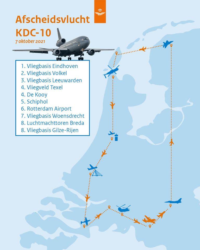 Route afscheid KDC-10 (beeld: Ministerie van Defensie)